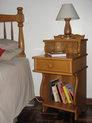 Bed pedestal and bed lamp made of Japanese oak