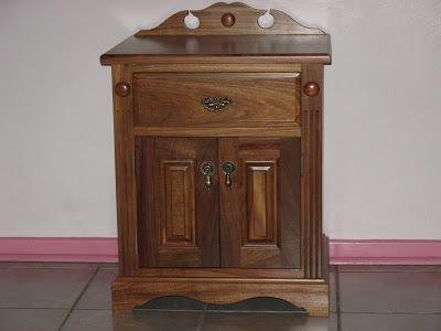 Bed pedestal made of kiaat