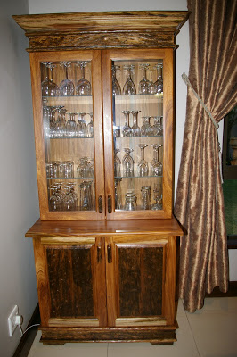 Wine cabinet made of sleeper wood
