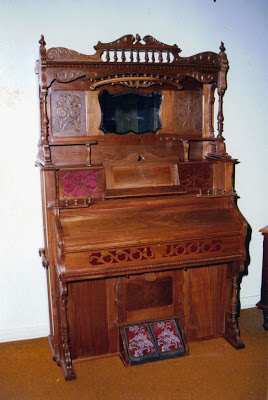 An old-fashioned harmonium completely restored and renovated. This harmonium is more or less 130 years old