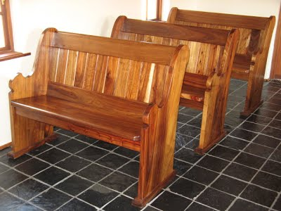 Two-seater pews made of solid kiaat