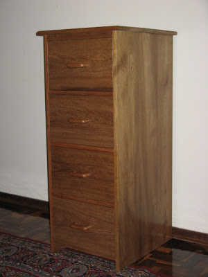 Filing cabinet made of solid kiaat