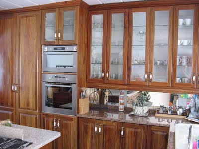Kitchen cupboards with solid kiaat doors